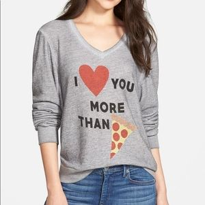 Wildfox I Love You More Than Pizza V Neck Sweater